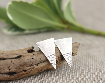 Silver Triangle Posts, Textured. Geometric, Earrings