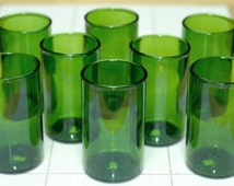 YAVA Glass - Recycled Green Wine Bottle Glasses (Set of 8)