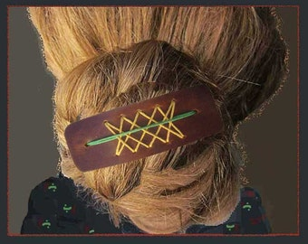 HIPPIE Up-do, Large Leather Barrette, Ponytail Holder, Woven String Decoration, Unused Condition, Vintage Accessories, Women