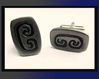 SCROLL Down...British Scroll Cufflinks-Modernist Design Pewter Links,ARIES Zodiac Design,Made in England,Vintage Jewelry,Men