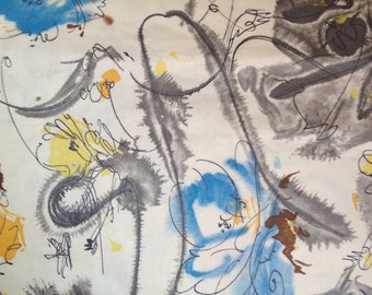 2 7/8 Yards 36 wide 50s abstract print cotton chintz fabric