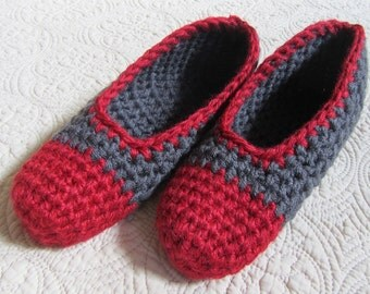 Red & Gray Ballet Flat Handmade Crochet Slippers Clogs Size Medium 7-8
