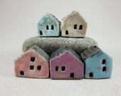 5 Saggar Fired Miniature House Beads...Speckled Blue White Pink Purple Blue