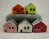 5 Saggar Fired Miniature House Beads...Pumpkin Orange Lemon Pink White Red