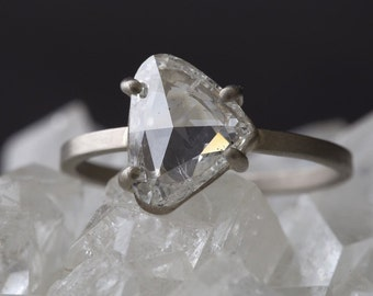 One of a Kind Natural Clear-White Rose Cut Diamond Ring
