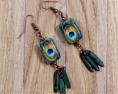 Green Teal and Gold Dangle Earrings - Antique Brass - Gypsie - Hippie - Southwestern - Bohemian - Artisan Made