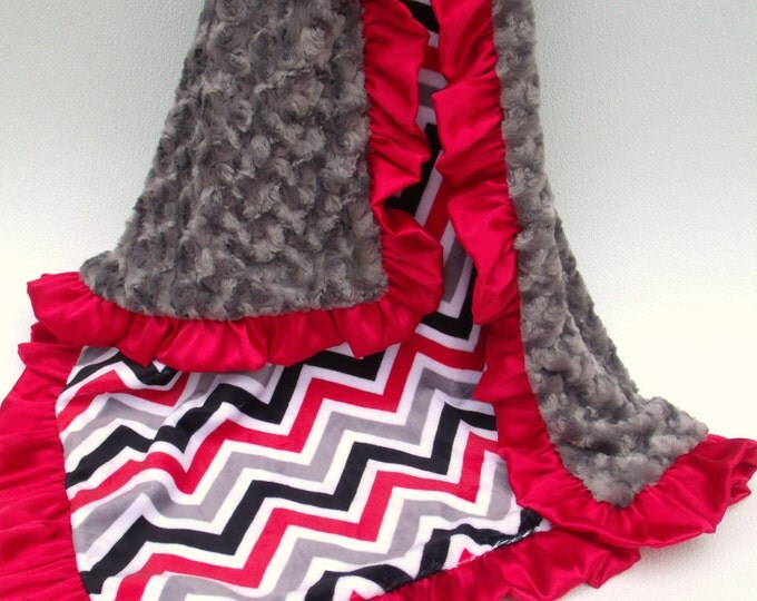 Red, Gray and White Minky Chevron Baby Blanket, Charcoal Rose Swirl or Minky Dot You Choose, Red Ruffled Satin Trim Can Be Personalized