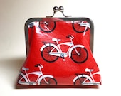 Red Bicycles Small Make Up/Coin Kisslock Purse - laminated cotton