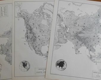 Asia, Australia, North America, Set of 3 maps, Original 1950s Vintage Black and White Relief Maps