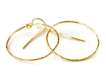 14K Gold Hoop Earrings - 1.25 Diameter Gold Dangle Earrings in Yellow Gold or Rose Gold