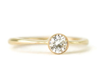 14k Moissanite Engagement Ring - Forever One or Brilliant Diamond Alternative - Made To Order