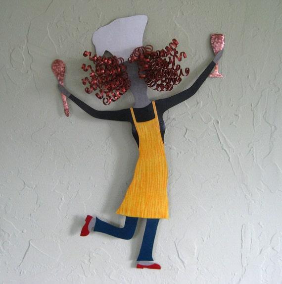 Kitchen Metal Wall Art: Kitchen Wall Art Lady Chef Sculpture By Frivoloustendencies