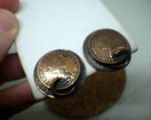 British - Half Penny Copper Earrings - Clip on - 1960