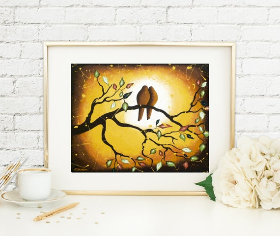Romantic Love Bird Wall Art Print, Nature Inspired Brown Earth Tone Home Decor, Tree Branches, Wedding Gift