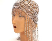 Labor Day Weekend SALE Vintage 1920s Gatsby FLAPPER Bohemian SILVER Romantic Beaded Headpiece