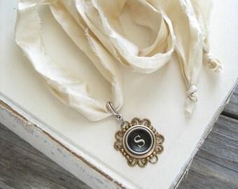Typewriter Key Necklace SALE. Letter S Necklace. Vintage Typewriter Key Jewelry. Long Boho Sari Silk Ribbon Necklace. Upcycled Eco Friendly.
