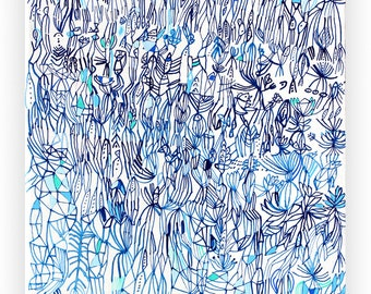 Blue Field- original abstract painting abstract art white abstract painting acrylic painting linear painting blue
