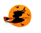 Vintage Black Witch Cake Decoration, Halloween Cake Decoration, Vintage Black Witch in an Orange Moon - plastic disc
