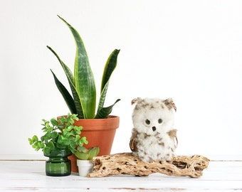 Vintage 1970s Fuzzy Owl On A Drift Wood Branch / Boho Owl Decor