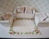 Dollhouse lounge,four piece lounge, white living room, miniature living room, white sofa, white chair, 1/2th scale, tatty chic, ,  miniature