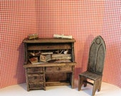Dollhouse  Tudor   desk,  Miniature desk, Rolltop  desk, desk, , country style, twelfth scale dollhouse piece