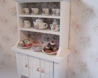 Dollhouse Kitchen Hutch, small hutch, white dresser, dollhouse dresser,  Dresser, twelfth scale, dollhouse miniature