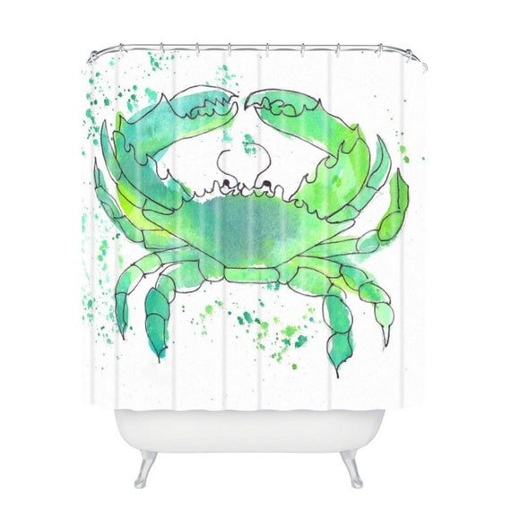 Seafoam Green Crab Shower Curtain by lauratrevey on Etsy