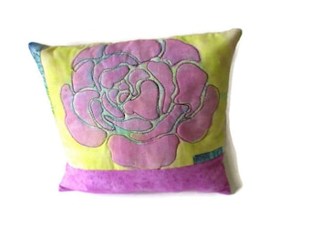 Small Flower Pillow, Decorator Pillow, Accent Pillow, Summer Pillow, ,Mixed Media, Summer Decor,  Appliqued Pillow, Free-Motion, Throw