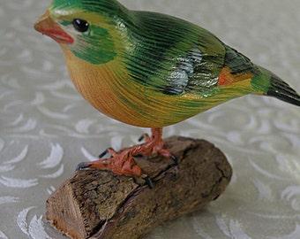 little painted bird on wood