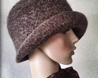 Ladies Felted Wool Flapper Cloche Hat - Any Color - Any Size - Handmade - Made to Order