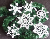 Crochet snowflakes white Christmas tree decoration lace ornament Set of 6