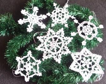 Crochet snowflakes white Christmas tree decoration lace ornament Set of 6