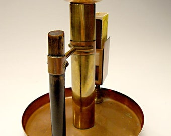 Arts and Crafts Movement Candlestick or Chamber Stick, Mixed Metals: Unsigned - in the Style of Christopher Dresser