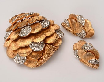 1960's Signed Boucher Pin and Earrings in Original Ciro of Bond Street Box:  Gold Tone Petals with white rhinestones