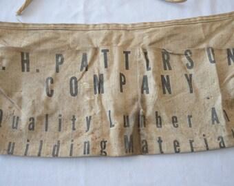 Vintage J.H. PATTERSON Advertising work shop apron carpenter 1950's