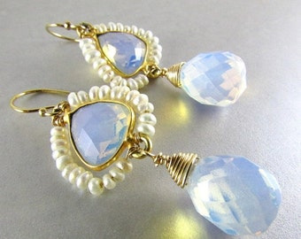 25% Off Summer Sale Opalite And Pearl Wire Wrapped Earrings