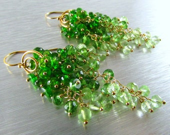 Chrome Diopside With Green Amethyst and Light Green Quartz, Green Ombre , Cluster Waterfall Earrings