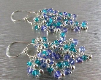 25% Off Summer Sale Periwinkle Blue Quartz, Teal Quartz and Sterling Bead Cluster Earrings