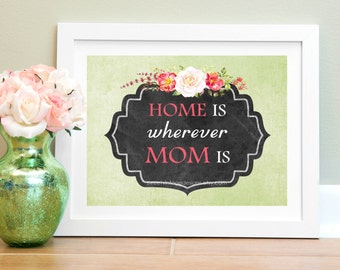 "Mother Printable, ""Home Is Wherever Mom Is"", Instant Download, Gift For Mom, Mom Birthday, Mom Wall Art"