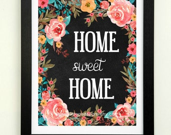 Home Sweet Home Printable, Chalkboard Home Art, Newlywed Gift, Wedding Gift, Wall Poster, Wall Quote, Instant Download, Entryway Wall Art