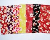 Scrap / Japanese Fabric - Kimono Print 7 pieces (876)