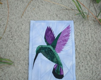 Hummingbird Quilted Wallhanging Fiber Art
