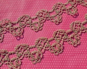 Vintage Lace Trim Tatted Lace Tatting Ecru Edging 2 Pieces