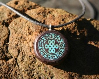 Love Knot  Black Walnut Wood Inlaid with Turquoise -- Wooden Jewelry,