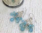 CUPID SALE Blue Chandelier Earrings, Blue Chalcedony Wire Wrap Sterling Silver Filigree Handmade Earrings Boho Chic