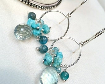 25% SALE Silver Hoop Earrings Gemstone Wire Wrapped  Silver Teal Quartz, Turquoise, Apatite, Blue Green Earrings, All in One Hoop Everyday E