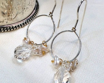 Silver Hoop Earrings Gemstone Wire Wrapped Clear Quartz Earrings, Keishi Pearl Minimalist All in One Hoop Everyday Earring