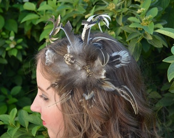 Natural feather plume fascinator with a bronze owl