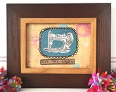 Sew very happy framed vintage sewing machine mixed media original collage