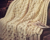 Classic Country Afghan, Handmade Crochet Afghan, Crochet Diamond, Cable, and Popcorn Afghan, Soft White Afghan,